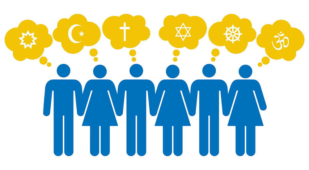 illustration with people pondering different religions
