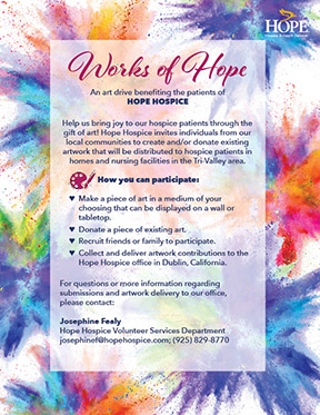 informational flyer for Works of Hope art donations