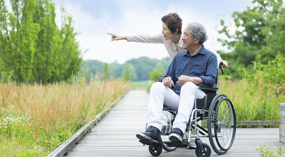 elderly asian man in wheelchair outdoors with wife