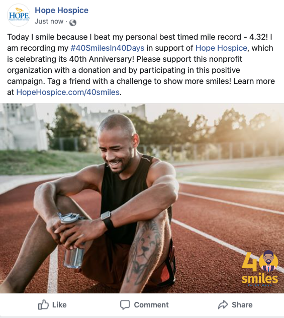 Facebook Post of Running sitting on the track.