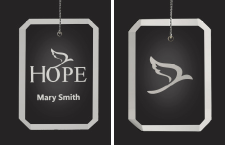 crystal ornaments with Hope icon or Dove icon